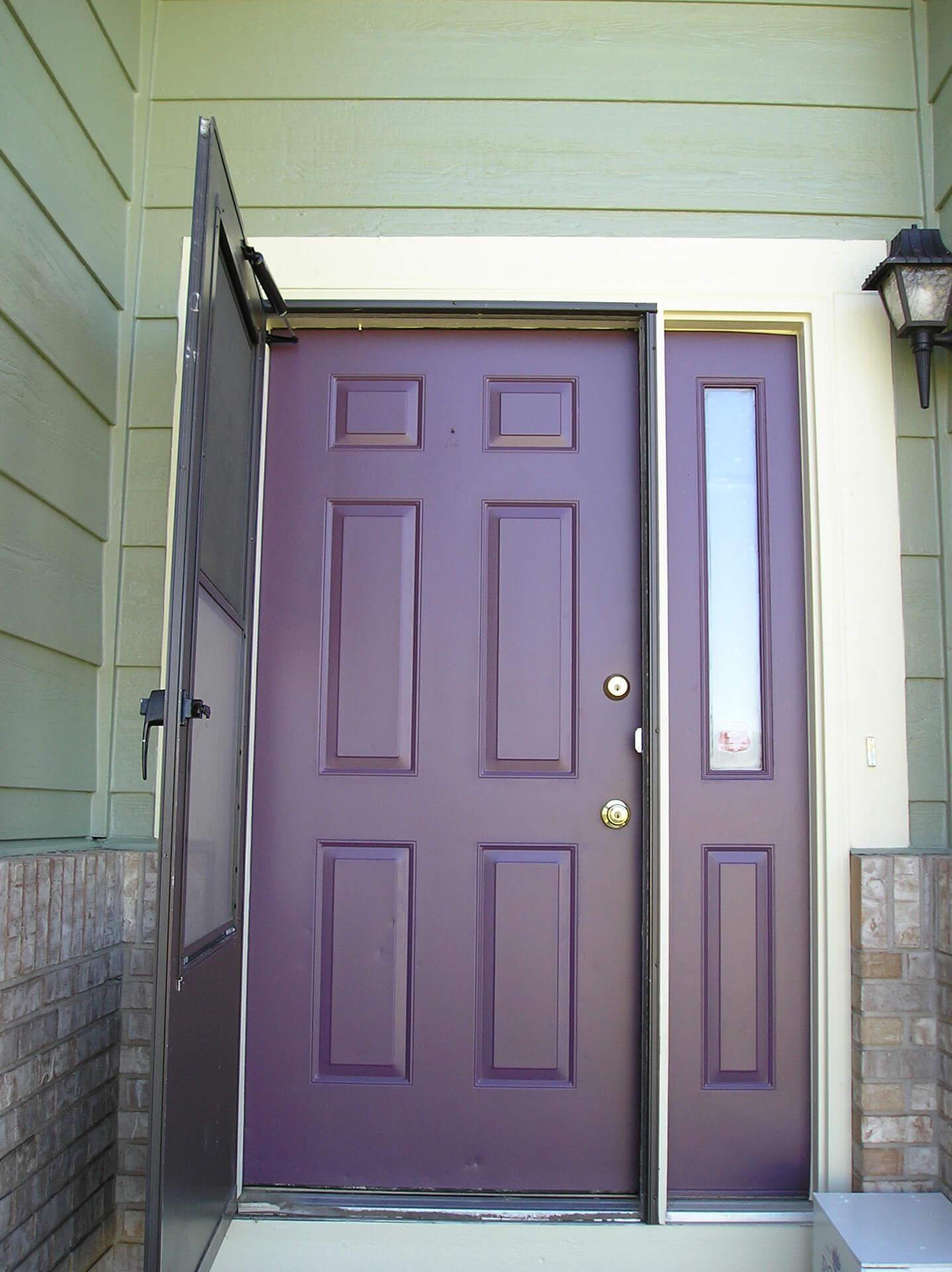 Steel Front Door Painted Purple